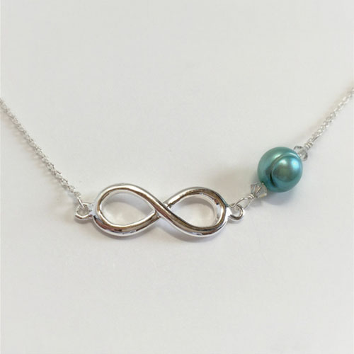 Necklace Freshwater Pearl Infinity Teal Jewelry For Charity